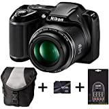 Nikon Coolpix L340 - Black + Case + 8GB Memory Card + 4xAA Battery and Charger (20.2MP, 28x Optical Zoom) 3.0 inch LCD