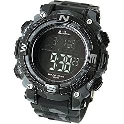 [LAD WEATHER] Digital watch Powerful solar battery 100 meters water resistant Military Outdoor