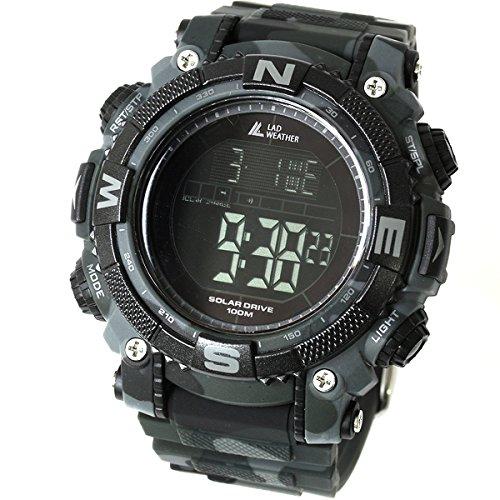 [LAD WEATHER] Reloj Digital Potente batería Solar Sumergible 100 Metros Militar Exterior Reloj Inteligente (cmbk)