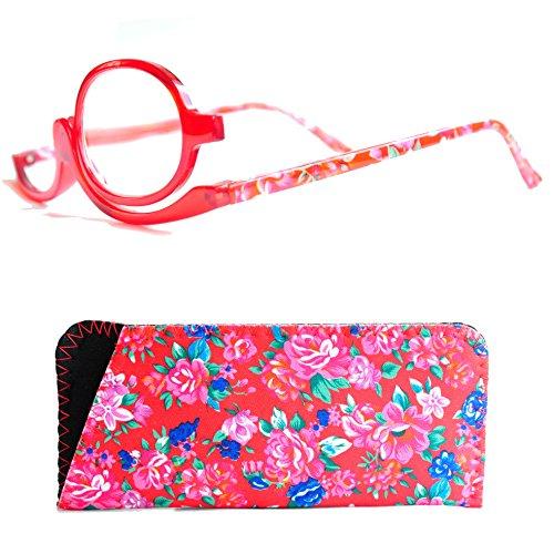 Make Up Schminkbrille mit Etui von Mini Brille (+2,0, Rot)