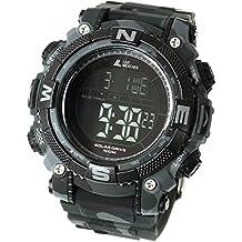 [LAD WEATHER] Reloj digital batería solar superpotente Militar 100 metros resistente al agua LAP SPLIT Alarma Hombre Relojes de