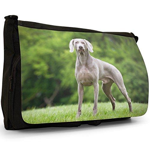 vorstehhund Grigio fantasma Weimaraner cane grande borsa a tracolla Messenger Tela Nera, scuola/Borsa Per Laptop Standing Ready To Play