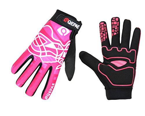 Lerway Winter MTB Handschuhe Gepolstert Race Fahrrad Handschuhe Sporthandschuhe für Radsport ,Outdoor Sport Mountainbike Damen und Herren Gloves (M, Heiß Rosa)