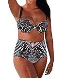 DIERDI Frauen Plus Size Bikini Hohe Taille Strappy Farbe Beachwear Breathable Bademode