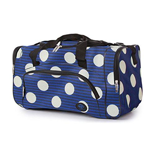 Friendz Trendz-Zipped Seitentaschen und Fronttasche Gepäck holdall Taschen (Bloom grey/black) Regency Spot white/blue