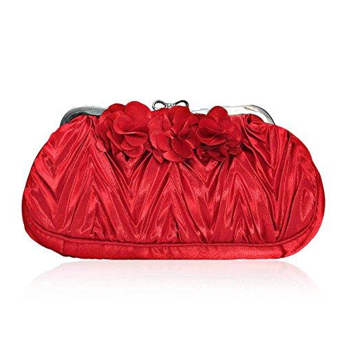 Damara® Damen Bowknot Strass Verschluss Handtaschen Mit Blumen-Dekor Rot