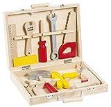 Janod Holzspielzeug - Werkbank Zubehörsortiment Werkzeugkoffer Redmaster 9 Teile, Mehrfarbig