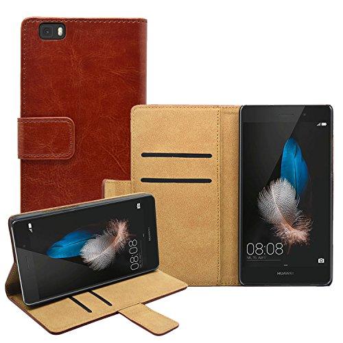 Membrane - Marrón Cartera Funda Carcasa para Huawei P8 Lite - Wallet Case Cover + 2 Protector de Pantalla width=