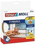 tesa 05391–00100–00Gummi Dichtung für Türen und Fenster, Profil D, weiß