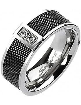 Titan Ring - Schwarz mit Netzstruktur und 2 Strasssteinen, Bandring 8 mm breit (Größe frei wählbar)