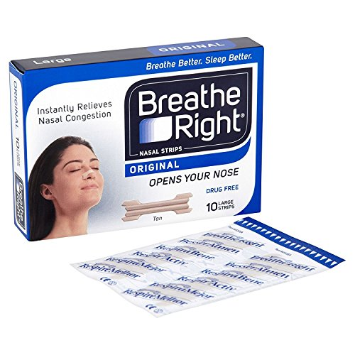 6 x Breathe Right Drug-Free Nasal Strips Large Size for Normal Skin 10 Strips -