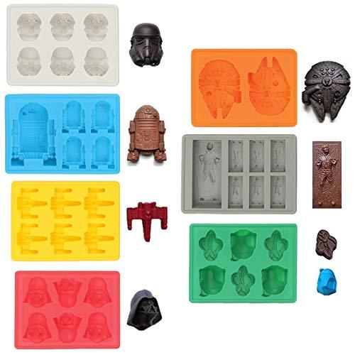 Sunerly Moldes de silicona para bandeja de hielo en forma de personaje de Star Wars, ideal para chocolate, cubitos de hielo, bandejas, gelatina, dulces, postres, jabón para hornear y hacer velas