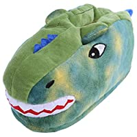 Green, Kids Warm House Slippers Home Shoes Dinosaur Design