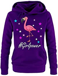 GIRLPOWER Flamingo ! Unicorn Flamingo Damen Hoodie - Sweatshirt mit Kapuze Gr.S M L XL XXL schenken Birthday Party Feiern