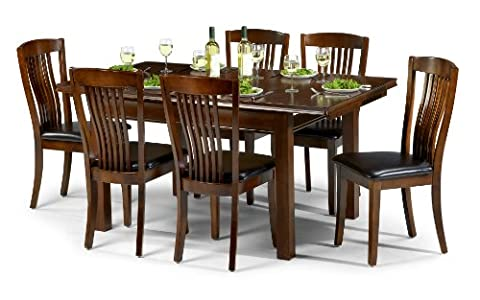 Julian Bowen Canterbury Extending Dining Table Set with 6 Chairs, Mahogany