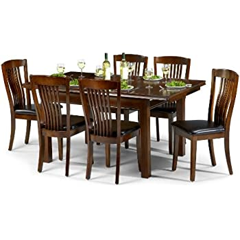 Julian Bowen Canterbury Extending Dining Table Set With 6 Chairs   Mahogany  Coloured Lacquer