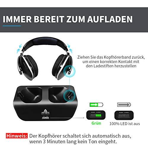 Artiste ADH300 Wireless TV Kopfhörer, 2.4GHz UHF/RF Over-Ear Digital Stereo Kopfhörer für TV, 100ft Distanz Sender Wiederaufladbare Ladestation - 5