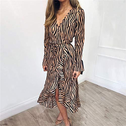 HWTP Kleid - Zebra Print Beach Chiffon Freizeitkleid Langarm V-Ausschnitt Rüschen Elegantes Kleid Abendkleid,A,XL -