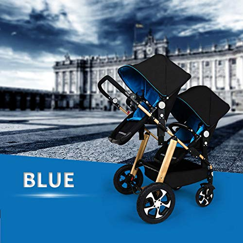 GHH Double Strollers Baby Pram Tandem Buggy Newborn Pushchair Ultra Light Folding Child Shock Absorber Trolley Can Sit Half Lying 0-3 Years Old(Maximum Loadable 50Kg Baby),Gold/blue  CBDFG