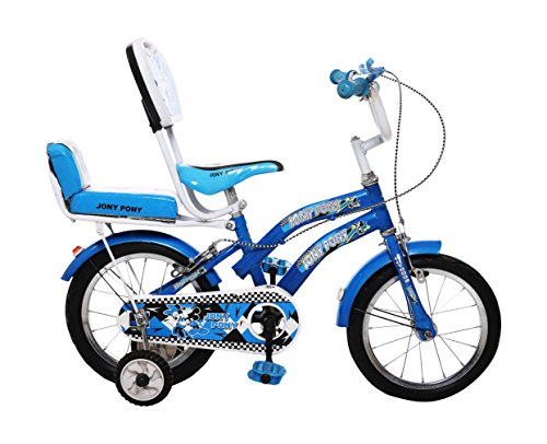 Outdoor Bikes Jony Pony 14 Inches Bicycle For 3 To 5 Age Group (Semi Assembled With Assembly Instruction Manual & Tool Kit) (Blue)