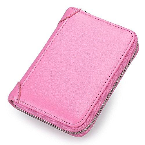 Echtleder RFID-Blockierung 16 Schlitze Kreditkarte Brieftasche Geldbörse Rosa