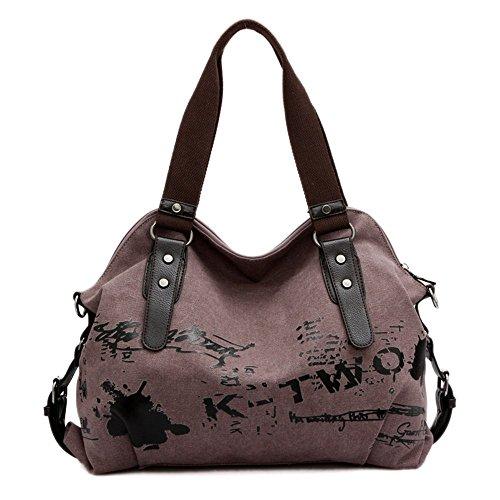 Schnalle Hobo Handtasche (Minetom Damen Fashion Vintage Canvas Umhängetasche Handtasche Messenger Taschen Leinwand Tasche Lila)