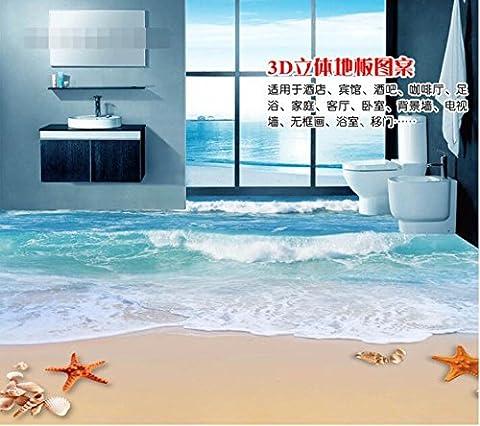LWCX 3D-Bodenbeläge Benutzerdefinierte Wasserdicht 3D-Pvc Bodenbeläge 3D-Sand Wellen Muscheln 3D Badezimmer Bodenbeläge Fototapete Für Wände 3D 200X140CM
