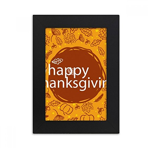 Thanksgiving Illustration Muster Desktop-Foto-Rahmen-Bild Schwarz-Kunst-Malerei Passt 10.2 x 15.2cm (4 x 6 Zoll) Bild Mehrfarbig ()