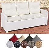 CLP Polyrattan Sofa FISOLO mit 3 Sitzplätzen I Gartensofa mit Aluminium-Gestell I Couch mit Polsterauflagen I In verschiedenen Farben erhältlich Rattan Farbe weiß, Bezugfarbe: Cremeweiß