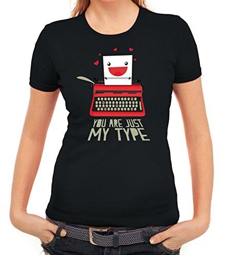 Valentinstag Damen T-Shirt mit You Are Just My Type Motiv von ShirtStreet Schwarz