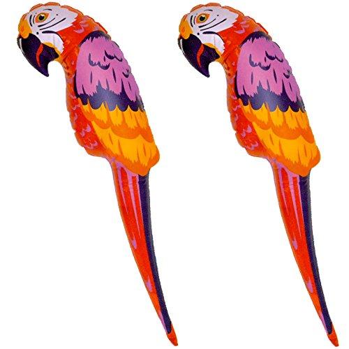 2 Papagei aufblasbar 67cm Deko Piraten Hawai Südsee Strand Party