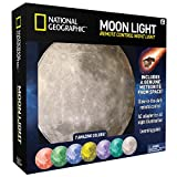 NATIONAL GEOGRAPHIC Moon Night Light for Children with AC adapter and Sleep Timer – Realistic 3D Moon Face Glows with 7 Awesome Color Settings! Comes with a 1-year Manufacturer\'s Warranty