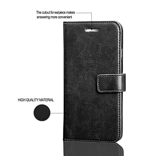 GBOS® Noir Rich Luxury Leather Support Wallet flip Case Cover For APPLE IPHONE 8 PLUS et en verre trempé Protector Noir