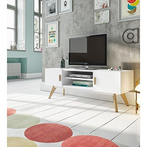 Meuble TV 2 portes 1 étagère en bois laqué blanc semi-mat et chêne ARGO - L 120 x l 40 x H 45