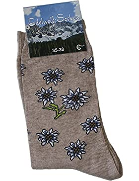 Trachtensocken Edelweiß-Socken Blütenmuster beige