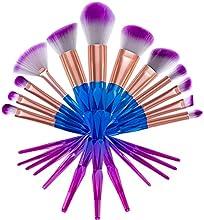 VALUE MAKERS 12Pcs Cepillos Maquillaje - Profesional Polvo Herramientas Cosméticas - Fundamento Powder Blusher Sombra Contorno Eyeliner Cepillo con bolsa (Diamond)