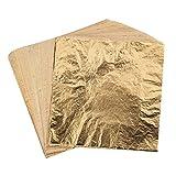 200 Blätter Nachahmung Blatt für Kunstprojekt, Vergoldung Handwerk, Handwerk Dekoration, DIY, Möbel, 5,5 x 5,5 Zoll (Gold)