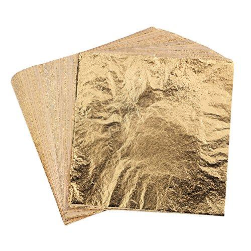 200 Hojas de Pan de Oro de Imitación para Proyectos de Arte, Artesanía de Dorado, Decoración, DIY, Muebles, 5,5 por 5,5 Pulgadas (Dorado)