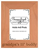 Grandpa Gift Grandpa's Lil' Buddy Grandson Natural Wood Engraved 4x6 Portrait Picture Frame