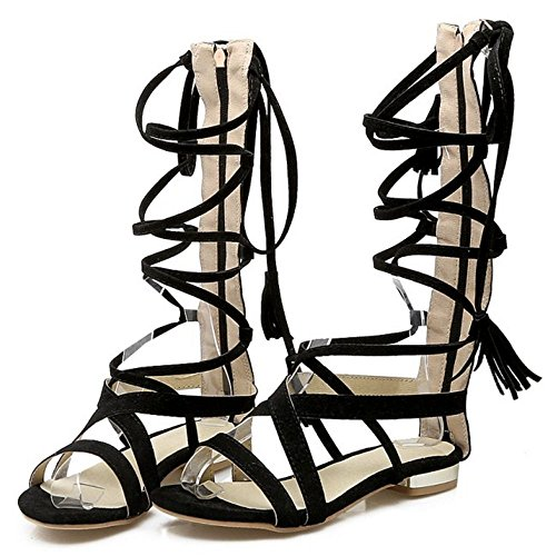 COOLCEPT Damen Mode-Event Schnueren Sandalen Open Toe Gladiator Shoes Schwarz