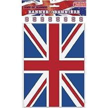 Tira de banderines de 10 metros * British Union Jack * con 20banderines // Para fiestas de cumpleaños, fiestas temáticas, decoración, guirnalda de fiesta con banderas, Inglaterra, Gran Bretaña, UK, GB