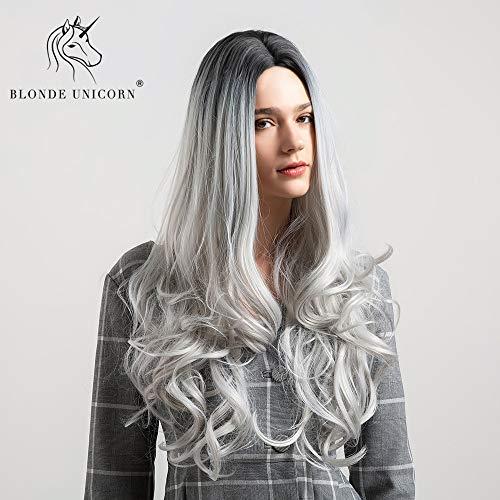 CXQBlonde Unicornio peluca sintética 26 pulgadas de largocabelloonduladoOmbre peluca de color...