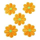 CanVivi Aufbügelbilder Blumen Set Patches Aufnäher Applikationen,Orange