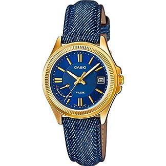 CASIO LTP-E115GBL-2AV – Reloj de señora analógico. Acero inoxidable dorado. Piel. Calendario
