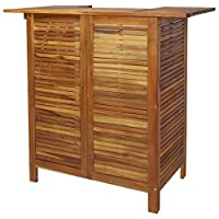 Tidyard Bar Table Outdoor Garden Side Table Solid Acacia Wood 110x50x105 cm