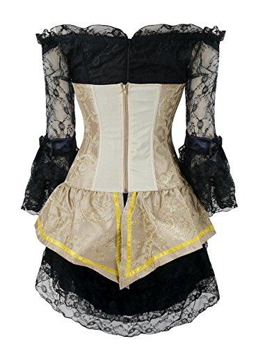 Charmian Women's Steampunk Gothic Retro Boned Bustier Corset Top and Lace Dress Giallo/Nero