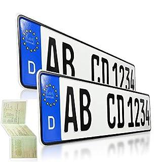 2 Kfz Kennzeichen | 520 x 110 mm | DIN-Zertifiziert - EU Wunschkennzeichen mit individueller Prägung | PKW Nummernschilder | Standard Autokennzeichen | Auto-Schilder | DHL-Versand