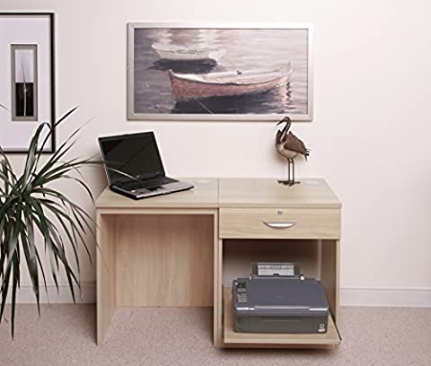 SET-01-IN-BE Beech Small Laptop Printer Table Childs Kids Computer Desk Home Office Furniture UK Modular Sets Collections Workstation Corner Desk Stand With Hutch Only Bookshelves