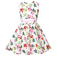 EULLA Girls Flower Dress Sleeveless Sundress with Bowknot for Party Bridesmaid Age 2-7 Years