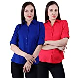 NumBrave Royalblue & Red Solid Rayon For...